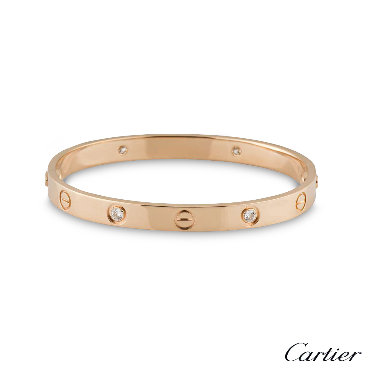 Cartier Rose Gold Half Diamond Love Bracelet Size 17 B6036017